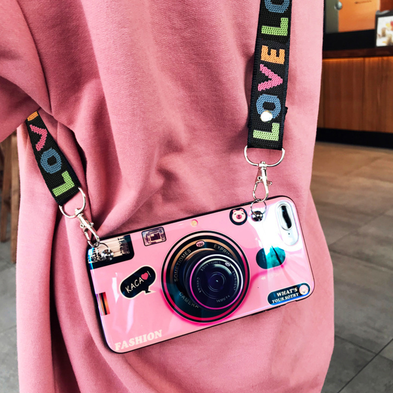Fashion 3D Retro Camera lanyard Standing Case For iPhone And Samsung S8 S9 2