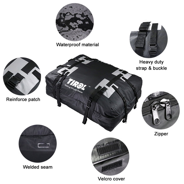 TIROL Waterproof Roof Top Carrier Cargo Luggage Travel Bag 15 Cubic Feet for Vehicles with Roof Rails 1