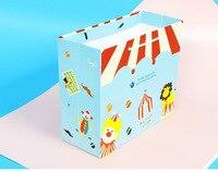 50 pcs gift paper bag handles Circus clown kraft handbags gift bags for Kids Birthday party christmas cake food toys packaging
