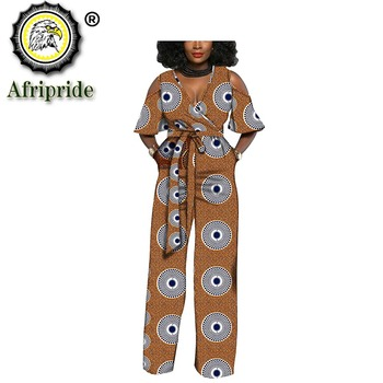 2019 AFRIPRIDE African Print Women Jumpsuit V-Neck spring Sexy Romper Wide Leg Pants Ladies Jumpsuits Rompers S1929003