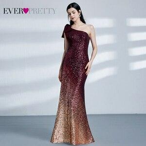 Image 5 - Paillettes robes de soirée longue jamais jolie EP07336 sirène une épaule sans manches Sexy moulante Abiye robes élégantes robes de soirée