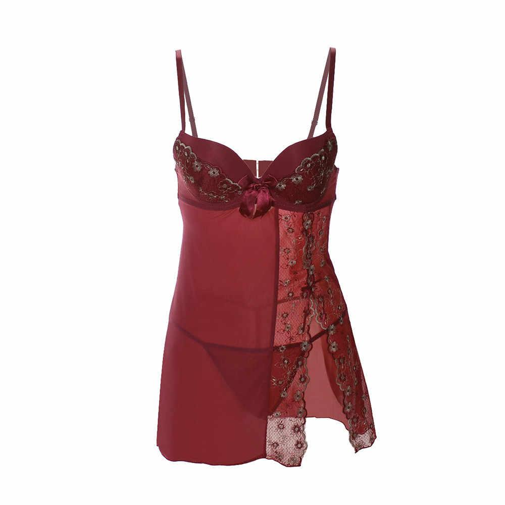 Сексуальное ночное белье женское кружевное нижнее белье с v-образным вырезом ночное тонкое Дамское белье Платье + трусы ночная рубашка и стринги De Nuit Femme Lenceria s-xl