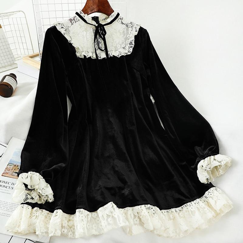 French Vintage Turtleneck Lace Trim Gold Velvet Black Women's Long Sleeve Dress  high waist victorian dress kawaii girl gothic