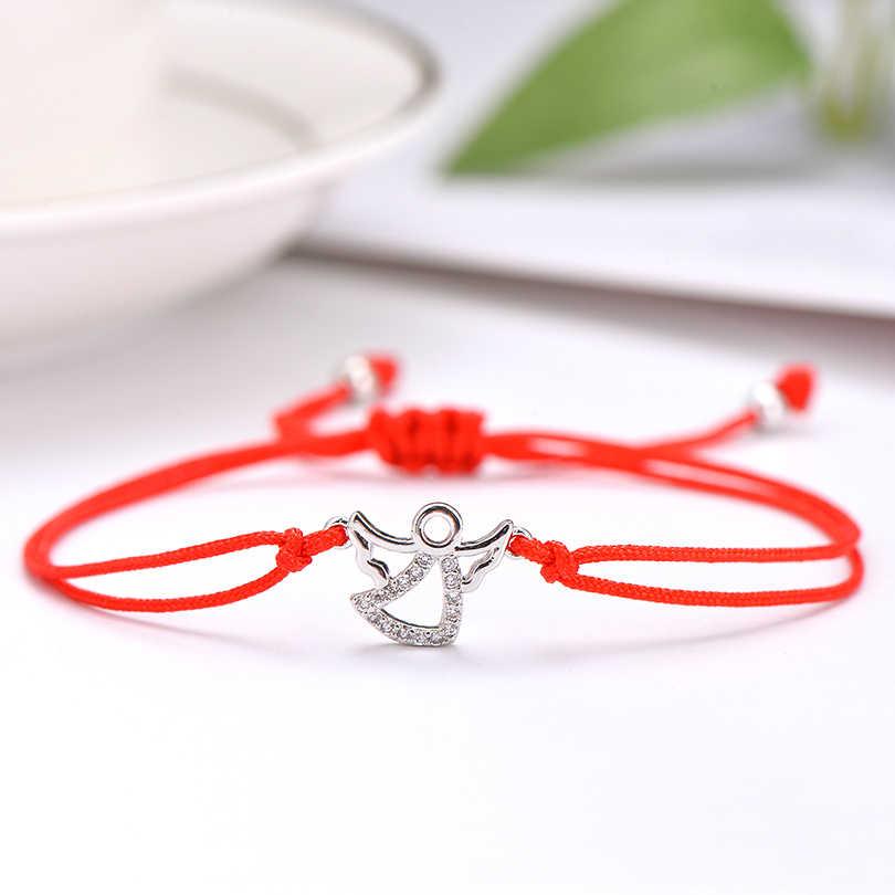 Pipitree Đáng Yêu CZ Zircon Thiên Thần Vòng Tay Handmade Lukcy Đỏ Dây Bện Vòng Tay cho Nữ Trẻ Em Trang Sức Quà Tặng Sinh Nhật