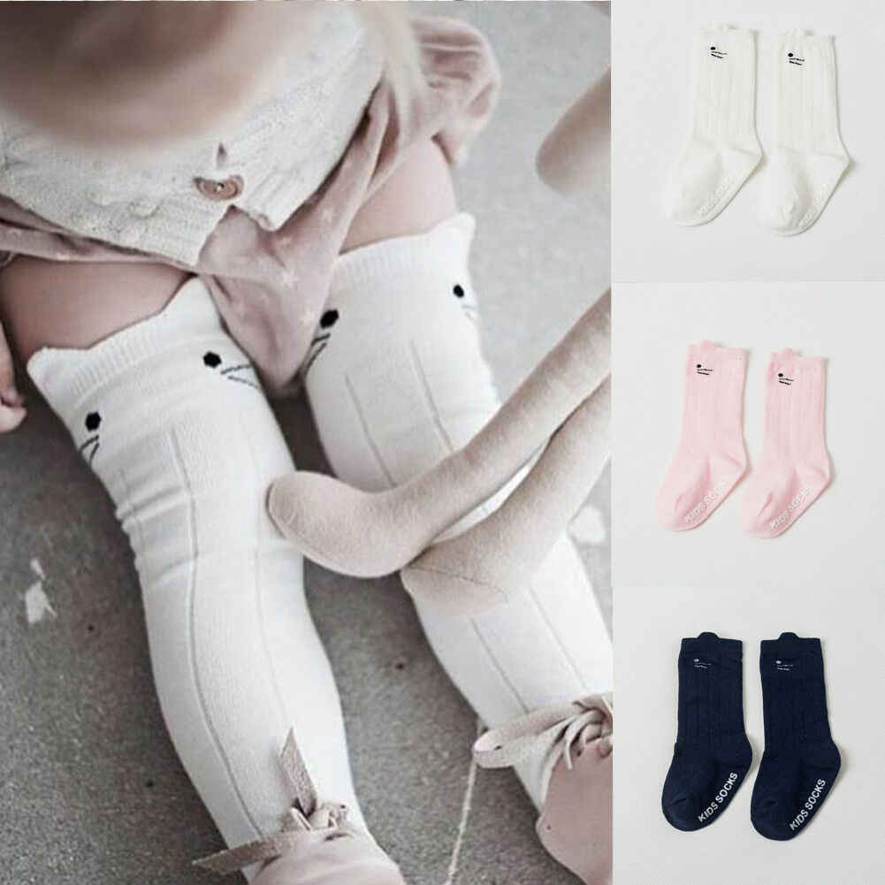 Cute Cartoon Cat Ear Printed Baby Socks Fashion Baby Girl Boy Cotton Sock Newest Toddler Unisex Knee High Pink/White/Navy Socks
