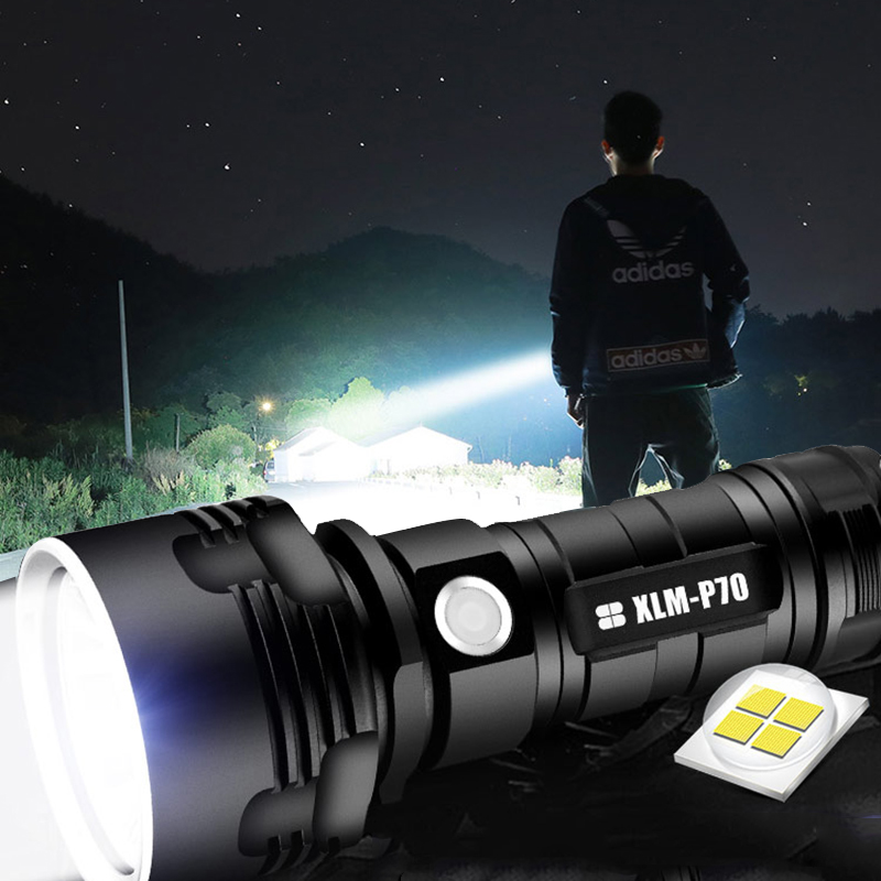 50000LM Tactical LED Flashlight Super Bright 18650 Zoomable Torch linterna