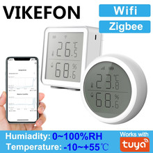 Tuya wifi zigbee temperatura e umidade sensor controlador medidor higrômetro indoor termômetro com display lcd para casa inteligente