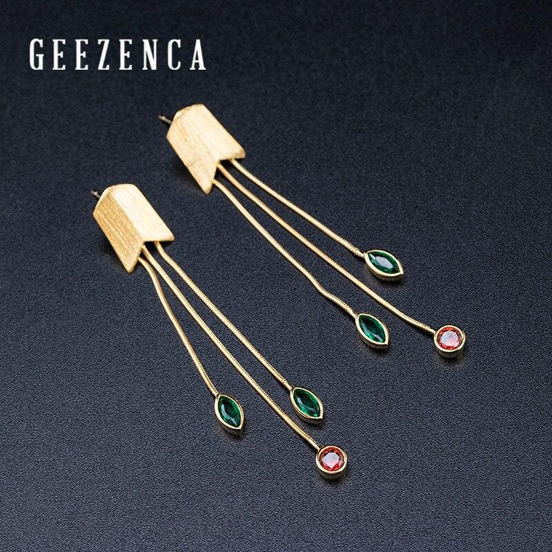 Трендовые 925 пробы сережки гвоздики с драгоценными камнями и кисточками из серебра и золота для женщин, длинные сережки с гранатом, хорошее ювелирное изделие, подарок|Серьги|   | АлиЭкспресс
