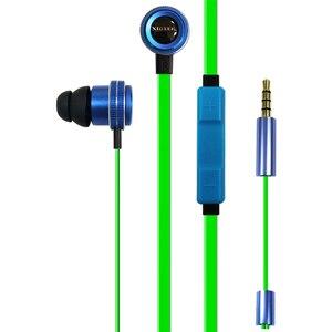 Image 1 - Kablolu kulakiçi özel ayarlı çift sürücü In Line Mic ses kontrolü alüminyum çerçeve dolaşmayan düz kablo Stereo çinde kulaklıklar