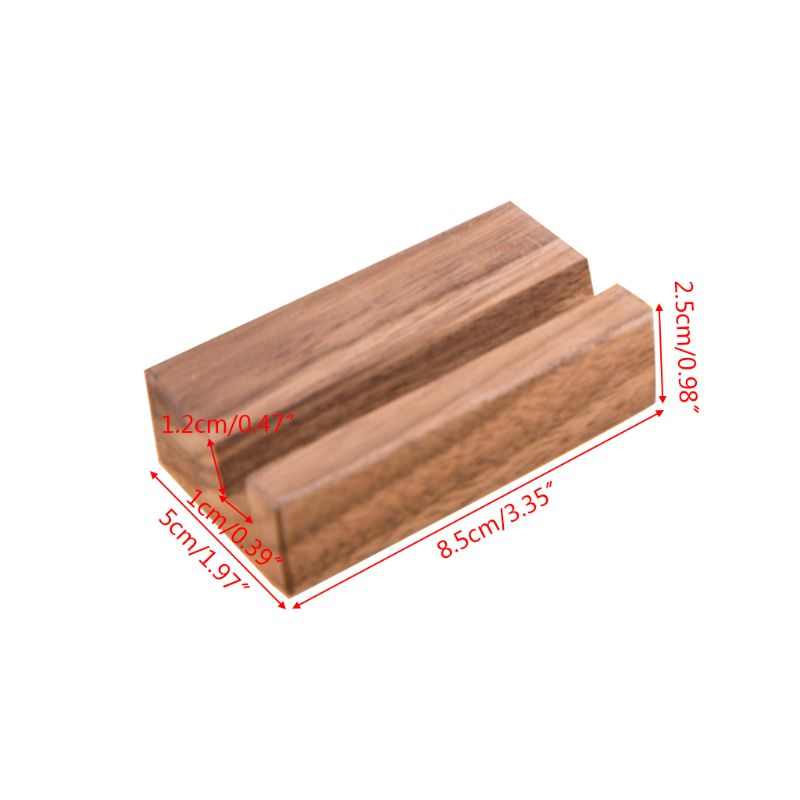Black Walnut Beech Wood Business Card Holder Office Desk Wooden Photo Stand Name Memo Clips Organizer Storage Dinner Party Decor