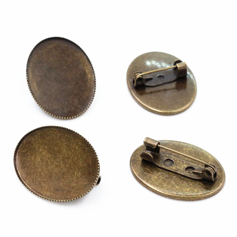 10pcs 18*25mm Inner Size Antique Bronze Colors Plated Two Style Brooch Fashion Style Cabochon Base Setting Charms Pendant