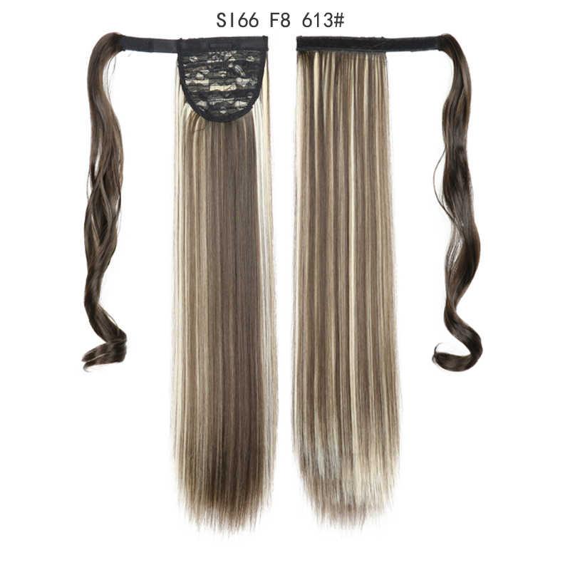 Lange Rechte Paardenstaart Wrap Around Paardenstaart Clip In Hair Extensions Natuurlijke Haarstukje Hoofddeksels Synthetisch Haar Bruin Grijs 613