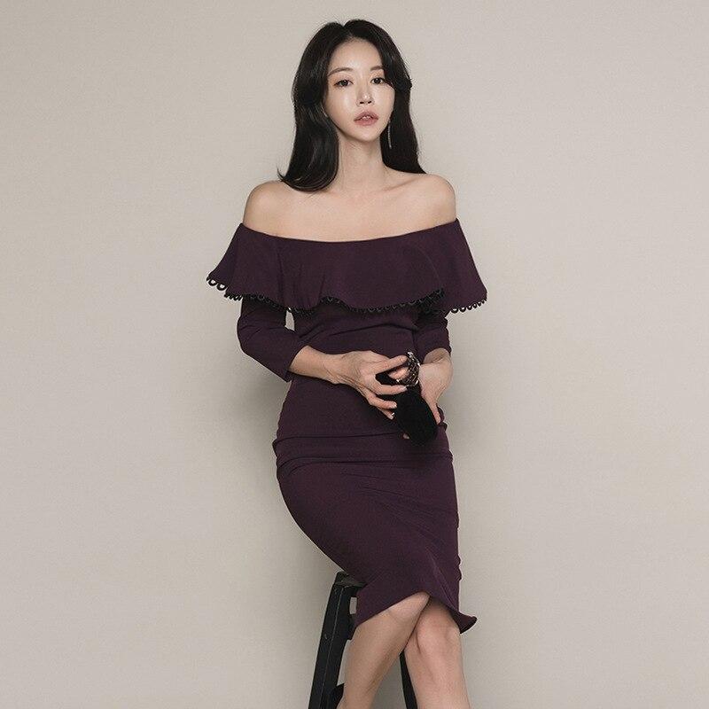 WOMEN'S Dress 2019 Autumn New Products Debutante Elegant Horizontal Neck Flounced Three-quarter-length Sleeve Sheath Formal Dres