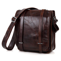 Retro Genuine Leather Small Shoulder Bag Cowhide Leather Single shoulder Bag Tablet PC Bag 7109C