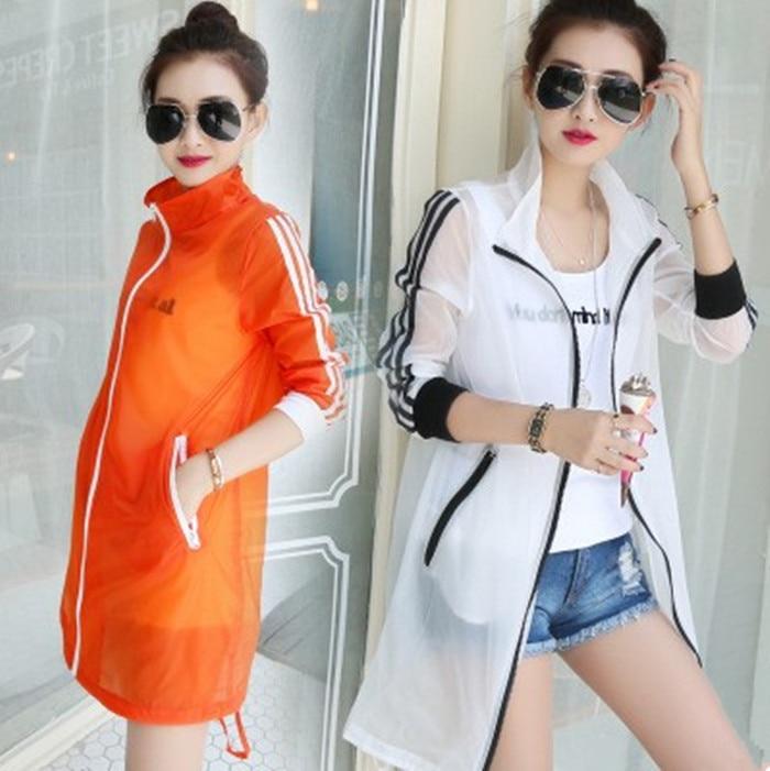 Summer Mid-length Coat Women's Ultra-Thin Long Sleeve UV-Protection Sun Shirt Three Stripes Coat Women's Large Size