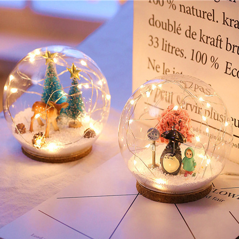 12*8cm Chirstmas Deer LED Crystal Ball 3D Lamp USB Night Light Led Craft Glass Round Sphere Home Office Table Decor Lamp Gift