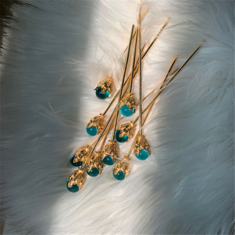 1Pcs Blue Hair Claw Direct Pearl Plate Hairpin Red White Bridal Headdress Hair Sticks Jewelry Ornaments Chinese Ancient Style 5
