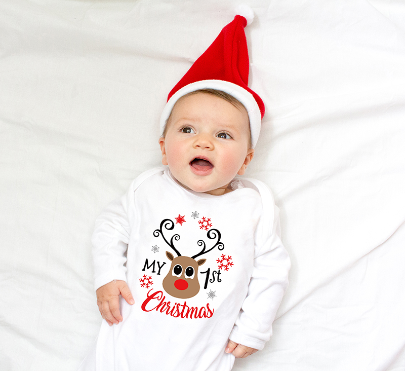 My First Christmas Letter Print   Romper   Jumpsuit Infant Newborn Baby Girls Boys Long Sleeve Outfit Babe Christmas Clothes