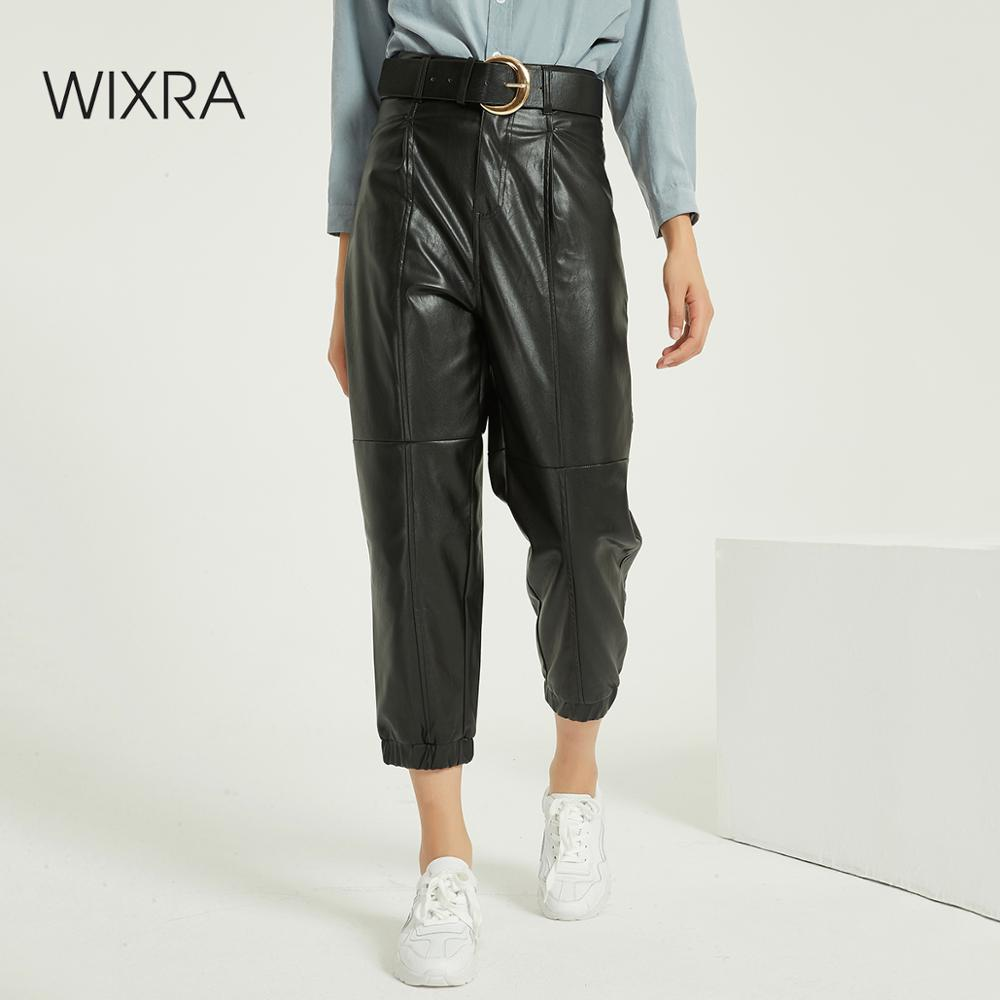 Wixra New Women Solid Harem Faux Leather Pants Female Winter Sexy PU Trousers High Waist Ankle-Length Pants
