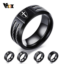 Vnox Personalize Wia Ring for Men Stainless Steel Cross Knights Templar Shield Oum Wild Wold Custom Gift Him