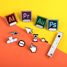 Square Photoshop Pins I Love You Badge Toolbar WASD key Lapel Pin AI PS AU PR Enamel Brooches for Designers Artists Jewelry