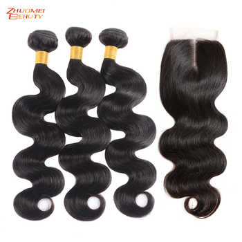Brazilian Hair Body Wave 3 Bundles With Closure Human Hair Bundles With Closure 4*4Lace Closure Zhuomei Beauty Remy Human Hair - DISCOUNT ITEM  55% OFF All Category