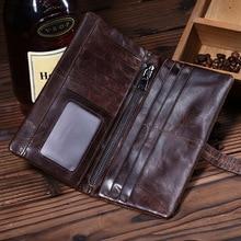 Leather Men's Wallet Long Handbags FD01