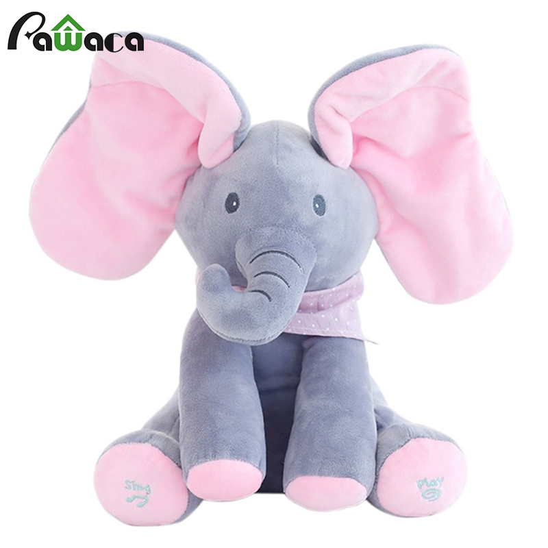 Stuffed Animal Toy Plush Elephant Doll Play Electric Music Education Birthday Christmas Thanksgiving Gifts For Kids Children