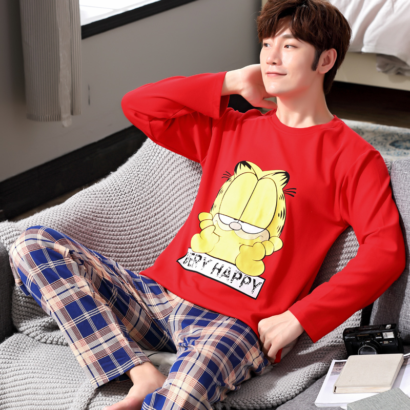 Sleepwear Nightwear Pajamas-Set Lounge Long-Sleeved Cartoon-Print Cotton Male Yidanna title=