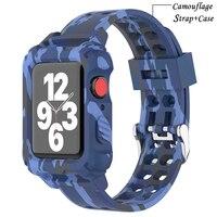 Funda y correa para Apple Watch, accesorios de correa transparente de 44mm, 40mm, 42mm/38mm, pulsera de camuflaje serie iWatch 5 4 3 6 SE