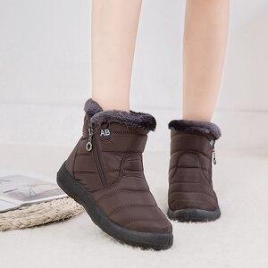 Image 1 - YIKUYUBO 2019 kobiet buty zimowe botki dla damskie buty ciepłe krótkie pluszowe wkładka kobiety zimowe płaskie z zamkiem błyskawicznym śnieg buty