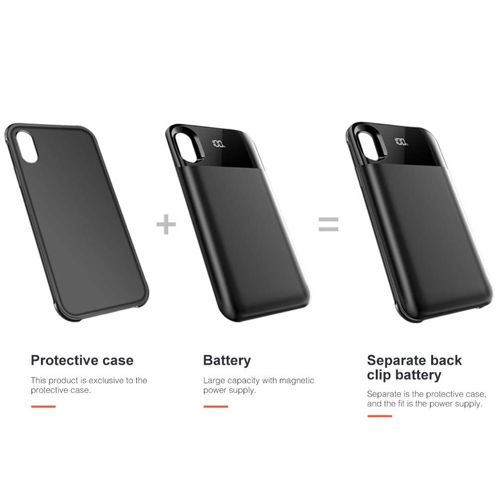 Magnetic Battery case iphone  Wireless Charging Powerbank For iphone xr xs max xs X External Battery power case