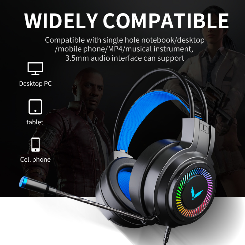 ZUTA Gaming Headsets Gamer Headphones Surround Sound Stereo Wired Earphones USB Microphone Colourful Light PCLaptop Game Headset