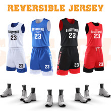 Maillots de basket-ball réversibles pour hommes uniformes de basket-ball à double usage(China)