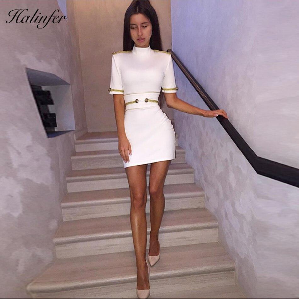 Halinfer 2019 nouveau été femmes robe sexy moulante col roulé à lacets bandage robe célébrité partie Mini robes multicolores