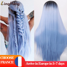 Linghang-Peluca de cabello sintético para mujer, cabellera artificial larga y Lisa, con apariencia de fibra resistente al calor, color negro y azul, para Cosplay