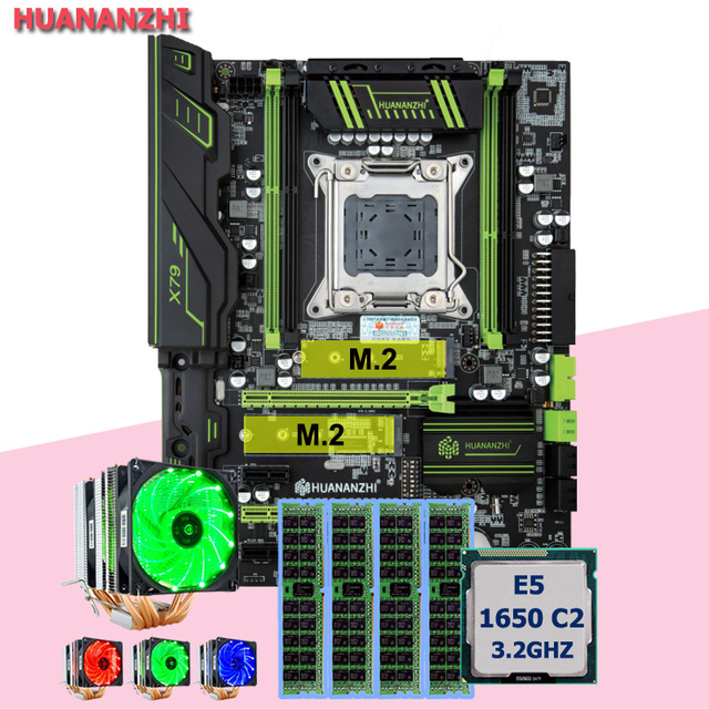 ยี่ห้อเมนบอร์ด DUAL M.2 สล็อต HUANANZHI X79 Pro เมนบอร์ด CPU Xeon E5 1650 C2 3.2 GHz 6 หลอด cooler RAM 32G (4 * * * * * * * 8G)