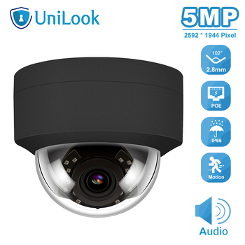 UniLook 5MP Dome POE IP Camera Black color Built-in Mic In/Outdoor Security With Audio H.265 IR 30m Network Cam ONVIF P2P ahua ipc eb5531 5mp wdr panorama 180 degree built in mic with sd card slot poe network fisheye ip camera replace ipc eb5500