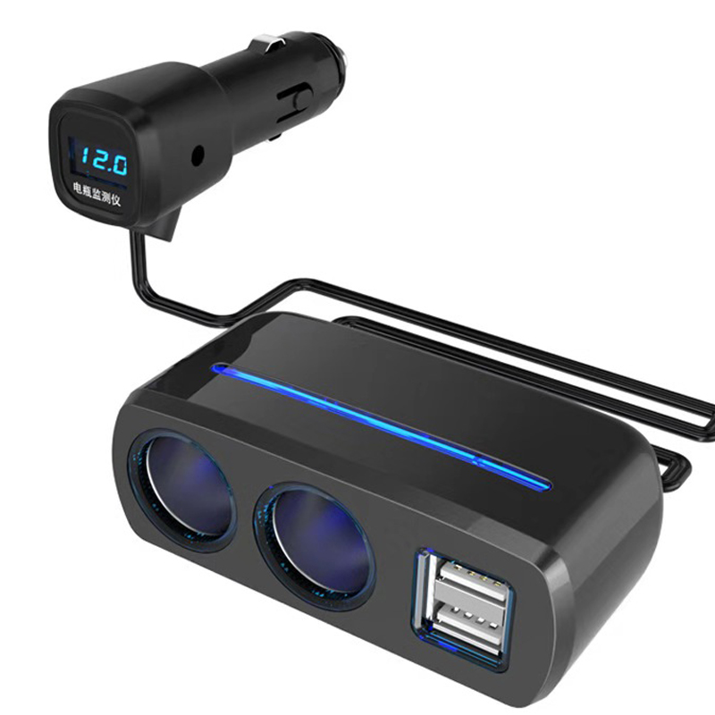 Fiuzd car charger 2 USB Port Way Car Cigarette Lighter Socket Splitter Charger DC 12~24V Black