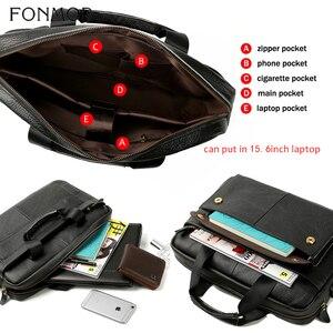Image 3 - Fonmor Genuine Leather Handbags Men Briefcase Business Computer Crossbody Bag Messenger Shoulder Bags Male Laptop Tote Portfolio