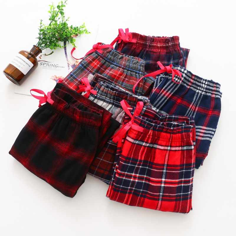 2020 Autumn Winter New Women 100% Cotton sleeping bottoms Female Warm nighty trousers Ladies Casual Plaid pajama pants Plus size