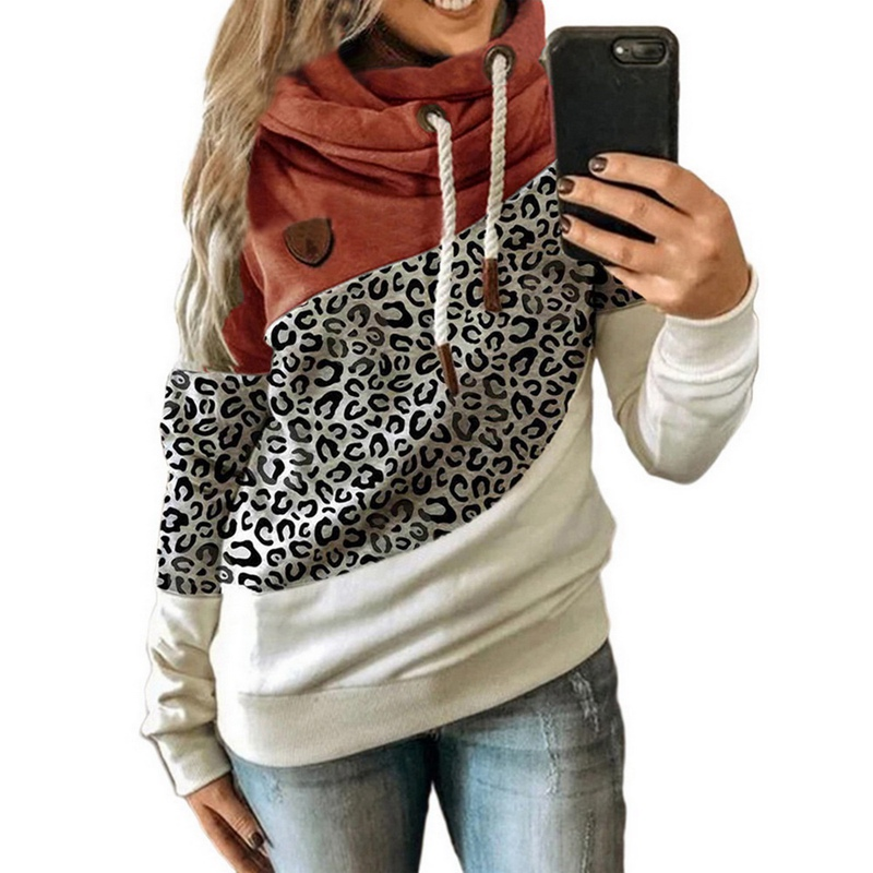 2020 Women  Autumn Winter  Gradient Patchwork Hooded Sweatshirt Women Drawstring Long Sleeve Harajuku  Pocket Hoodie Tops 8
