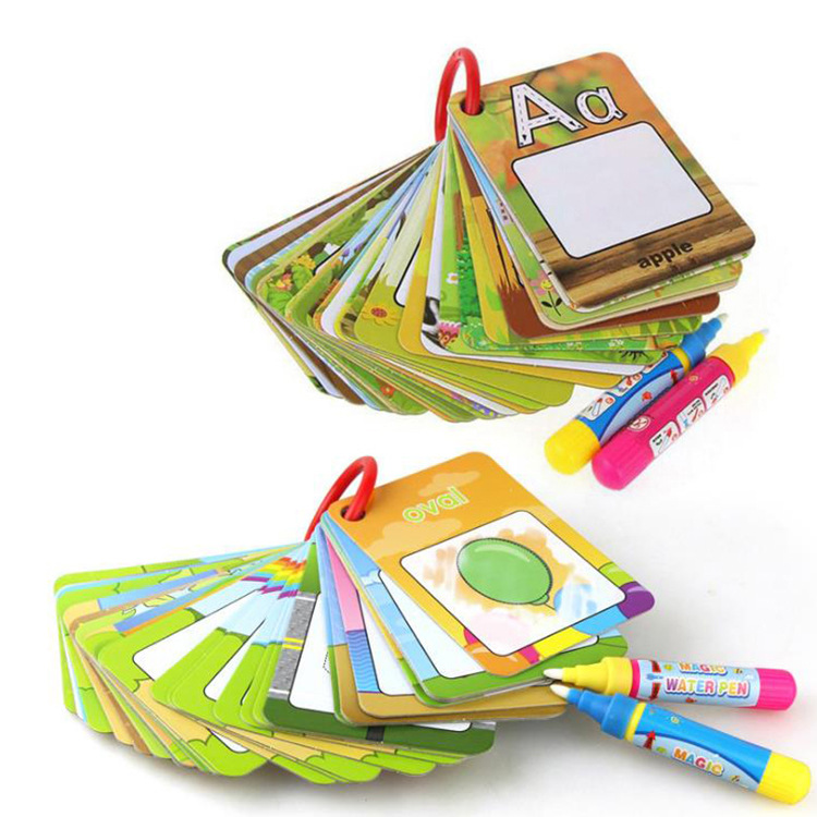 Baby Reusable Water Drawing Toys Learning Card & 1 Magic Pen Recognize Painting Board Educational Toys For Kid English Learning