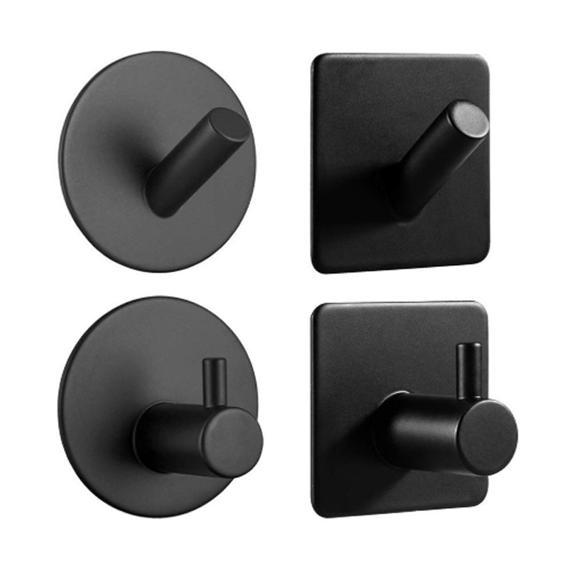 Black Wall Hooks for Clothes Stainless Steel Towel Keys Hanger Wall Mount 3M Adhesive Storage Hook