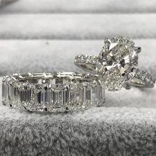 Moonso Conjunto de anillos de boda ovalados para mujer, Plata de Ley 925 auténtica de compromiso, banda de lujo, joyería eternity, zirconia, R5239