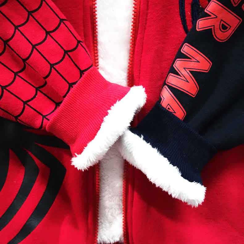 스파이더 맨 보이 자켓 따뜻한 겨울 소년 코트 전체 슬리브 후드 아이 옷 두꺼운 코튼 스파이더 맨 자켓 소년 3-10 년
