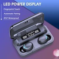 핸즈프리 포드 이어폰 블루투스 5.0 헤드셋, 3D 스테레오베이스 TWS 무선 이어폰 LED 스포츠 헤드폰 에어 도트 + 마이크 휴대폰용