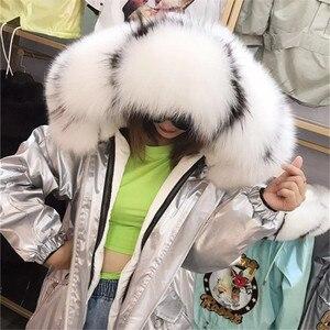 Image 4 - Natural Fox Fur Collar Hooded Warm Silver Parkas Back Cartoon Rabbit Sequins Real Rabbit Fur Liner Women Winter Jacket Oversized