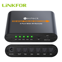 LiNKFOR SPDIF/Toslink Switcher 5x1 with IR Digital Optical Audio Switchers With Remote Control Five Input One Output Switcher