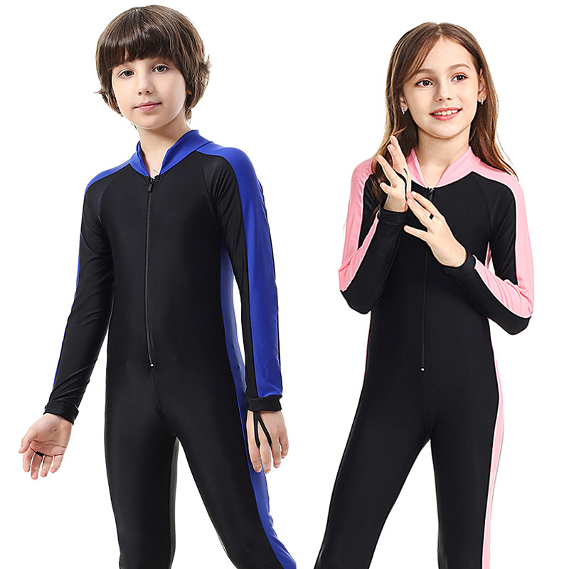 SBART Children Wetsuit Rash Guard Girl Boy Kids Swim Diving Sportswear Suits Anti-UV Full Body Long Sleeve One Piece Swimsuit H
